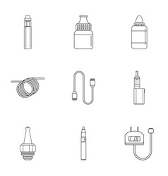 Electronic cigarette icon set outline style vector