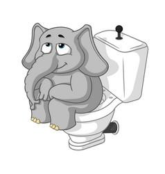 Elephant sitting on the toilet cartoon vector