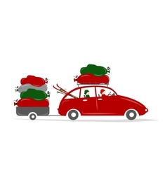 Family traveling by red car with luggage vector image