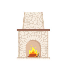 Fireplace with long chimney paved in stone icon vector