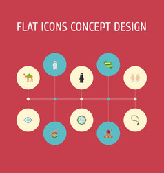flat icons minaret artillery decorative and vector image