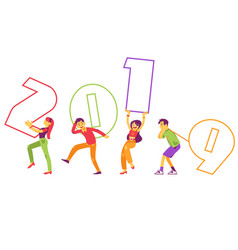 flat people holding 2019 new year numbers vector image