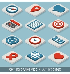 Flat Set Isometric Icons vector image