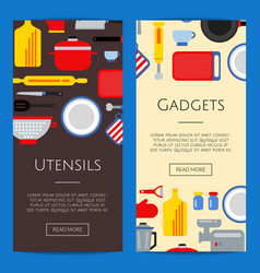 flat style kitchen utensils banners vector image