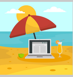 freelancer notebook at beach concept background vector image