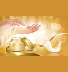Gold jar with open lid is full of cosmetic cream vector