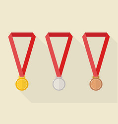 Gold silver and bronze award medals vector