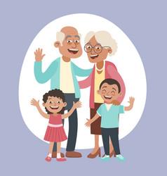 Grandparents and grandchildren portrait vector