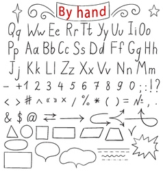 Handwritten letters number characters shapes vector image
