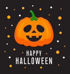 Happy halloween card with cartoon cute pumpkin vector