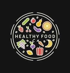 Healthy Food Line Art Colorfull For Healthy vector image