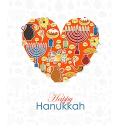 Heart with hand sketched Happy Hanukkah logotype vector image