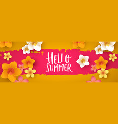 hello summer web banner 3d tropical flowers vector image