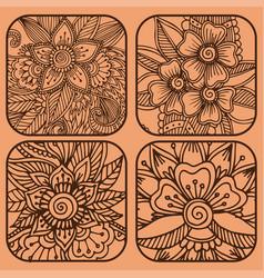 henna tattoo mehndi flower doodle ornamental vector image