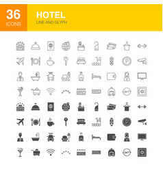 hotel line web glyph icons vector image