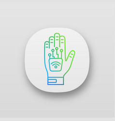 Human microchip implant in hand app icon vector