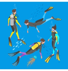 Isometric 3d of divers vector