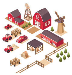 Isometric farm elements vector