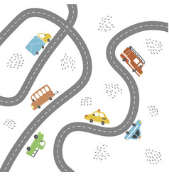 Kids city map transport and road vector