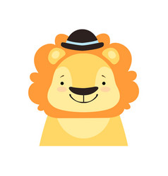Lion in a black bowler hat funny face cute vector