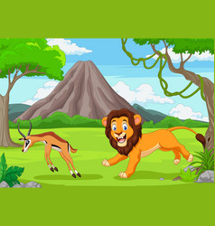Lion is chasing an impala in an african vector