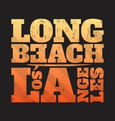 Long beach la tee print with surfboard vector