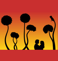 lovers and dandelions at sunset vector image