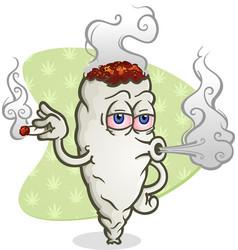 Marijuana blowing smoke cartoon character vector