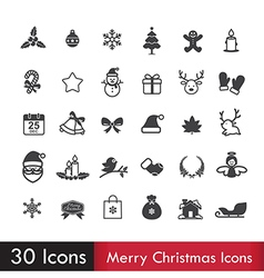 Merry christmas icons set isoleted on white vector