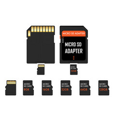 Micro sd memory card and adapter vector