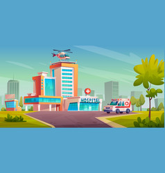 modern clinic building helicopter ambulance van vector image