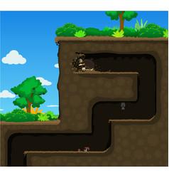 Mole high dig underground cartoon vector