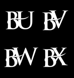 Monogram logo design bu-bv-bw-bx vector