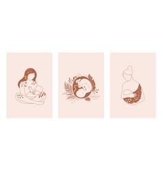 motherhood maternity babies and pregnant women vector image