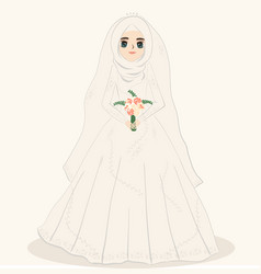 Muslim bride muslim girl wears wedding dress vector