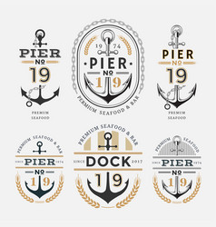 nautical label anchor no 19 set 02 vector image