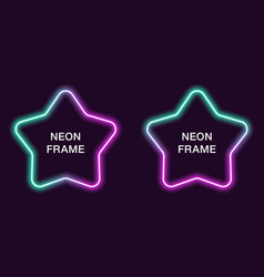neon frame in star shape template vector image