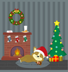 new year and christmas card a cute corgi puppy in vector image