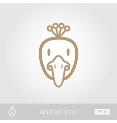 Peacock outline thin icon Animal head vector