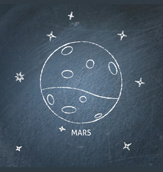 Planet mars icon on chalkboard vector