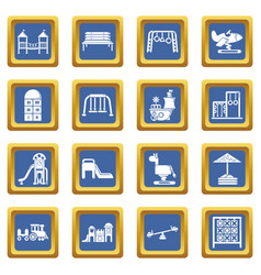 playground equipment icons set blue square vector image