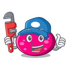 Plumber ellipse mascot cartoon style vector