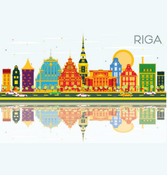 Riga skyline with color buildings blue sky and vector