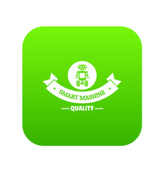robot smart icon green vector image