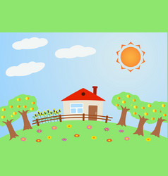 Rural landscape in summer vector