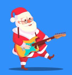santa claus dancing with guitar in hands vector image