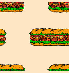 seamless pattern with submarine sandwiches vector image
