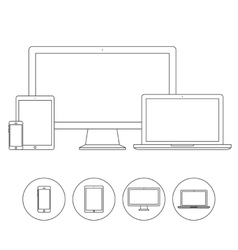 Set electronic device outline icons vector