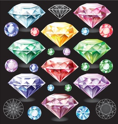 Set of Diamonds of different colors vector