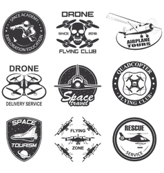 Set of vintage space drone aeronautics flight vector image